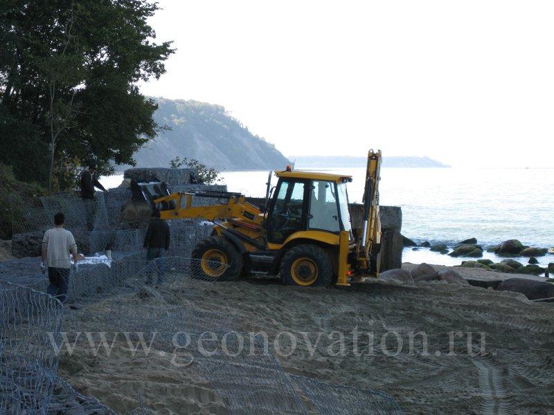 Оборудование пляжа габионными конструкциями