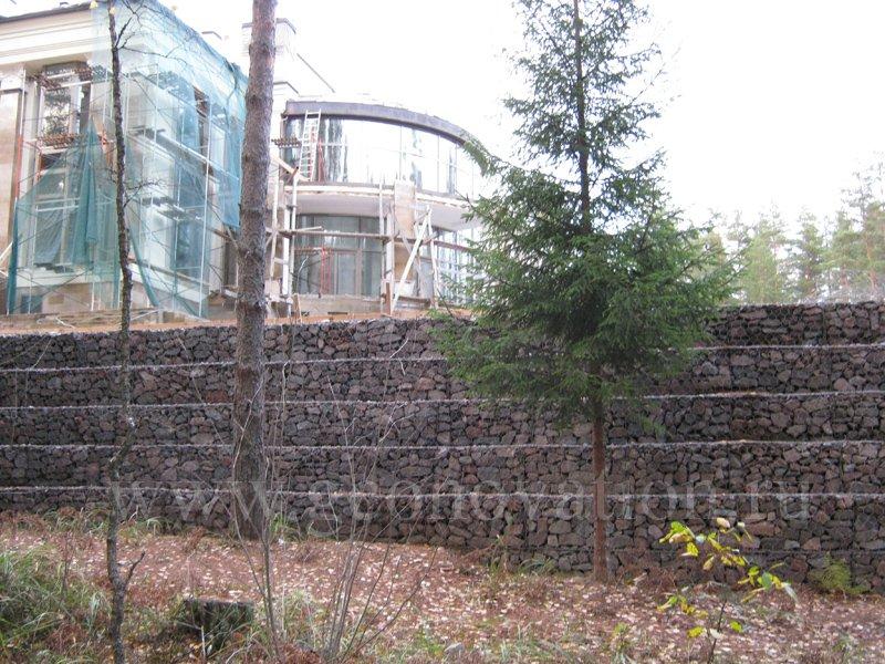 Геосетки и геотекстиля в подпорных стенах